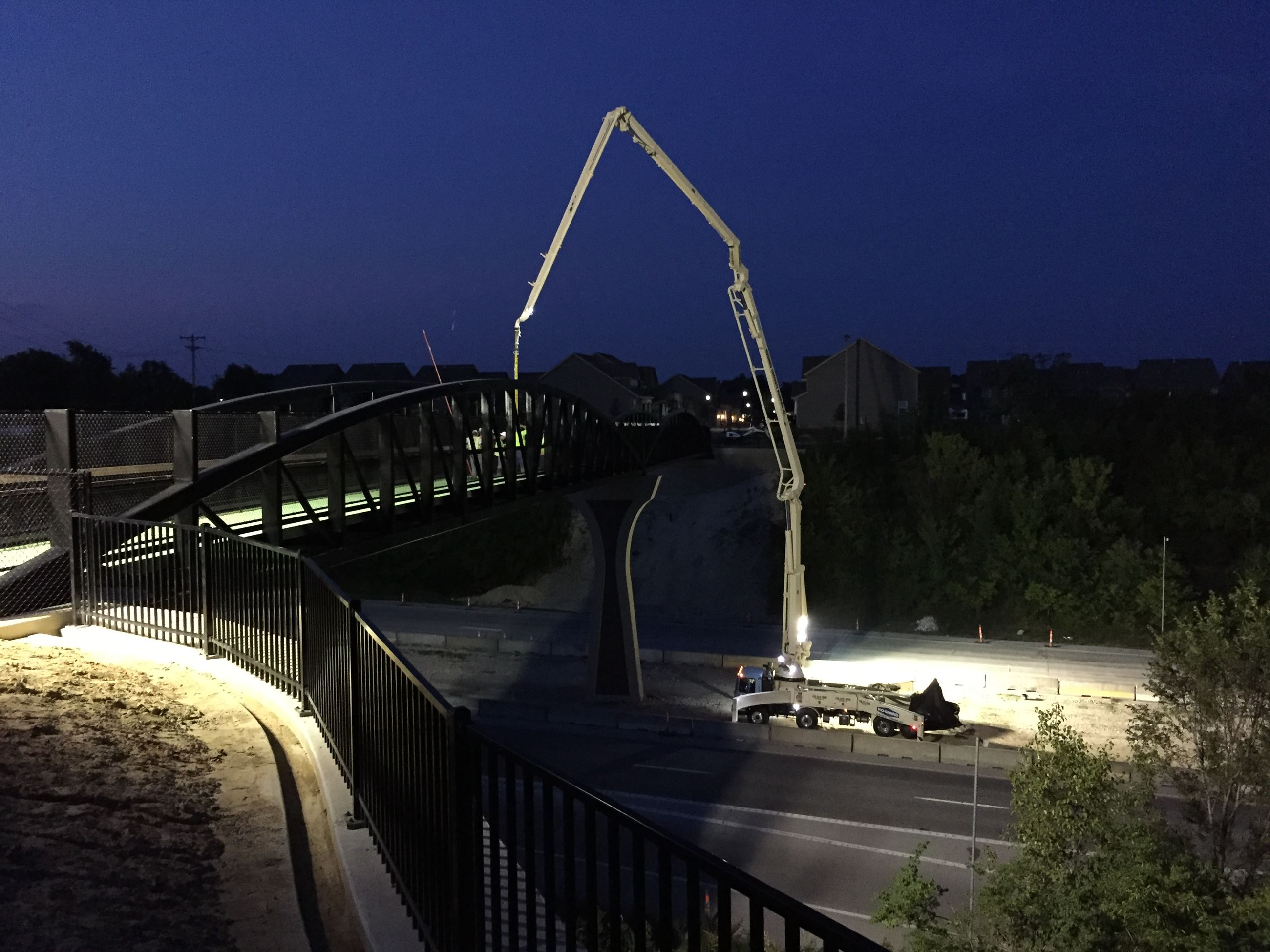 Construction being done at night