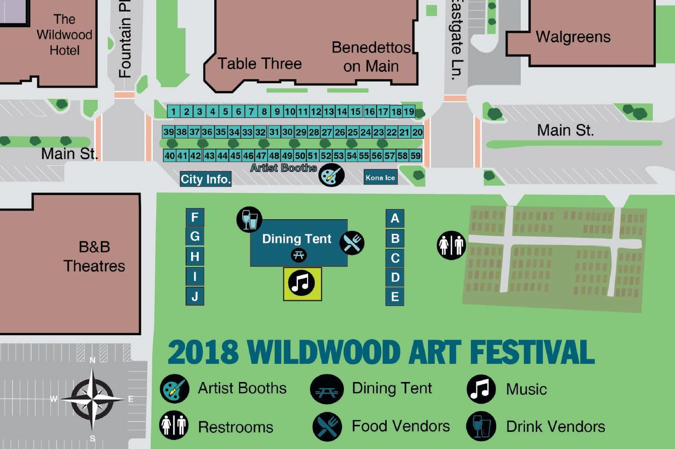 Map of Wildwood Art Festival Event Grounds