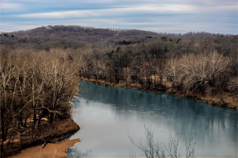 February of 2020 Calendar - photo of the Meramec River from on overlook bluff