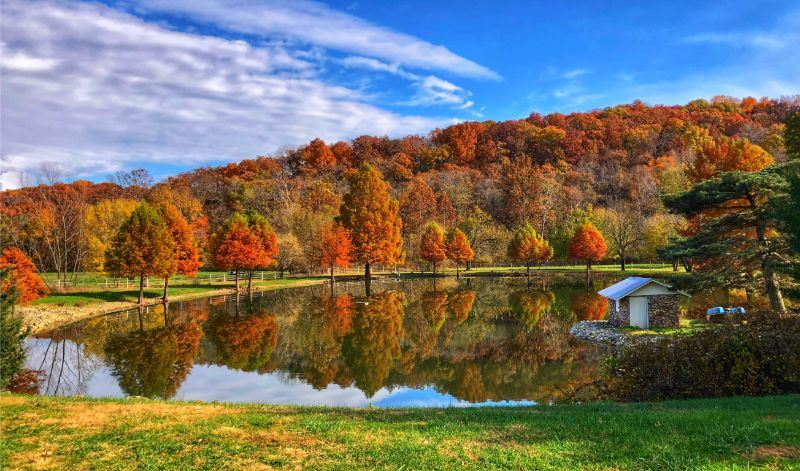 October Image for 2020 Calendar - photo of a lake with autumn color trees in the background