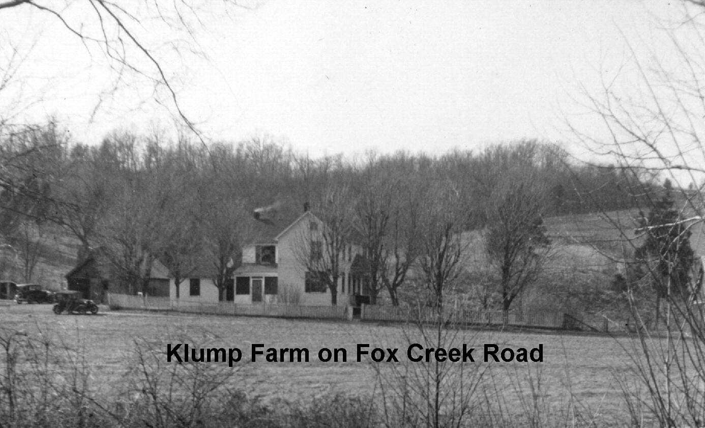 Black and white historic image of Klump farmhouse on Fox Creek Road